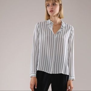 100% Silk Striped Button Down